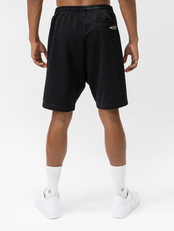 Reverse Panel Fleece Shorts | Black