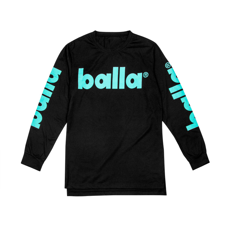 Teal on Black Long Sleeve Tee