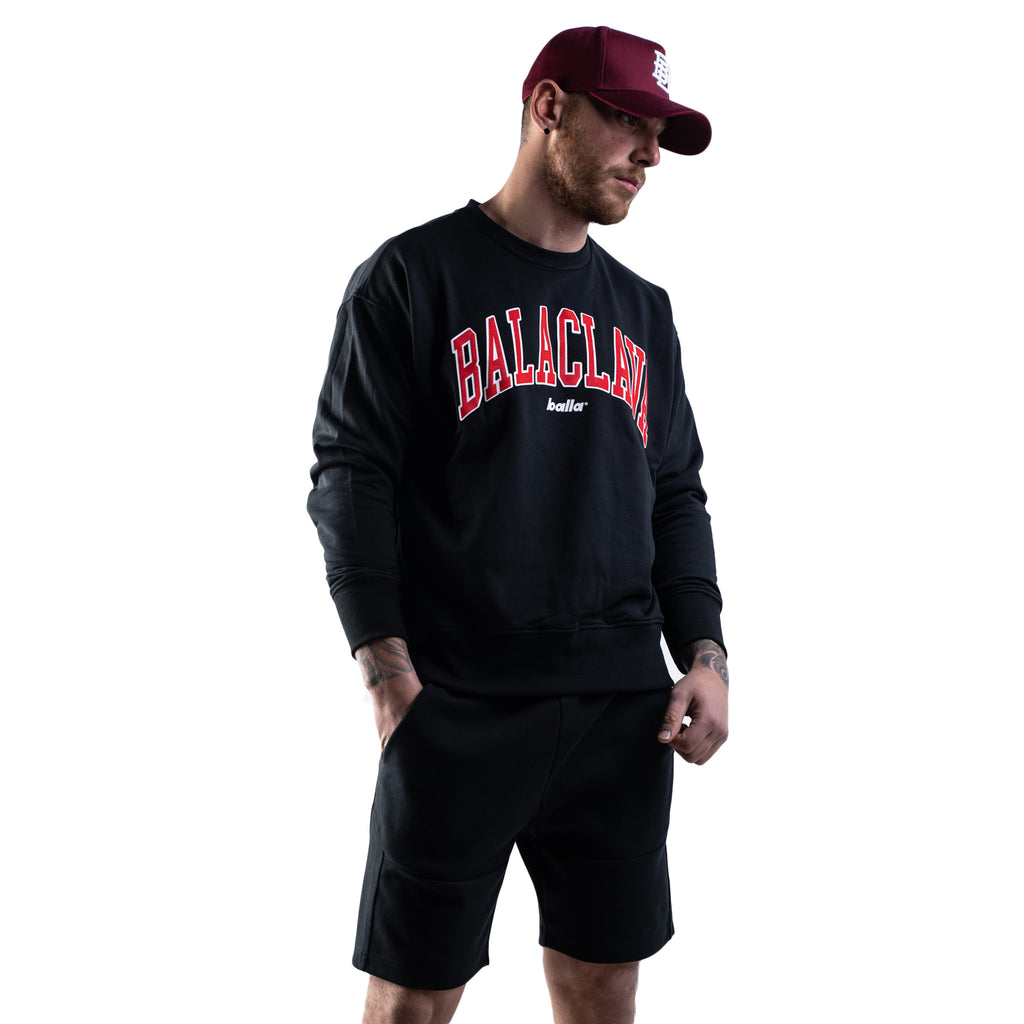 Balla Balaclava Crew Neck Sweater - Black
