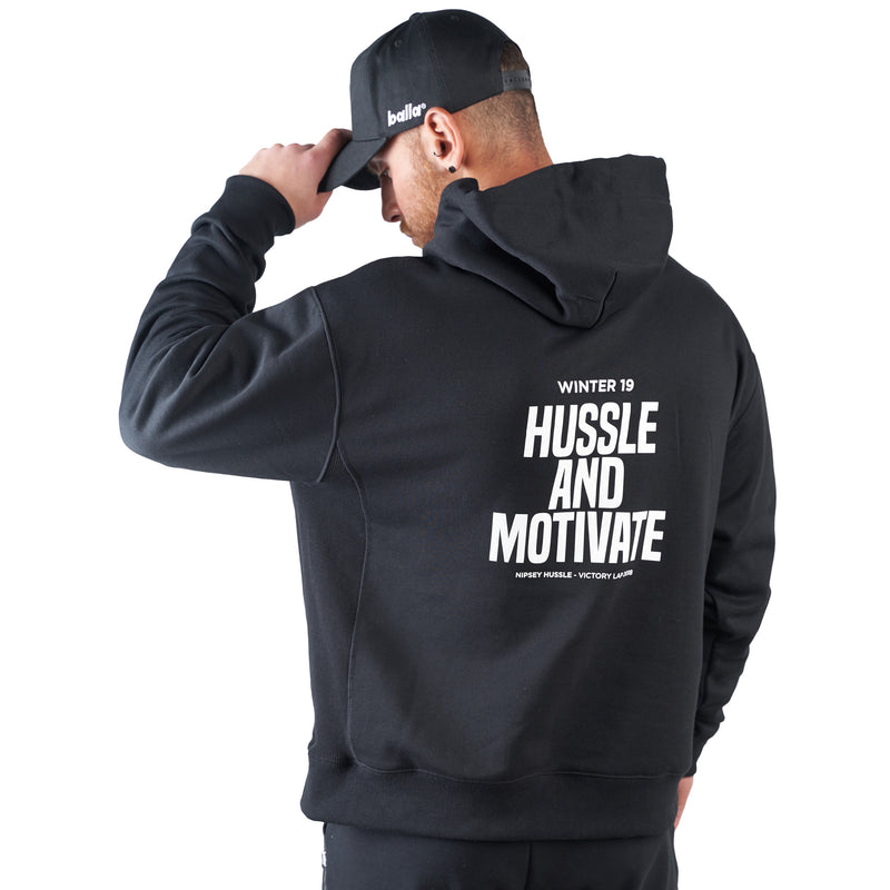 Hussle and Motivate Oversized Balla Hoodie - Black