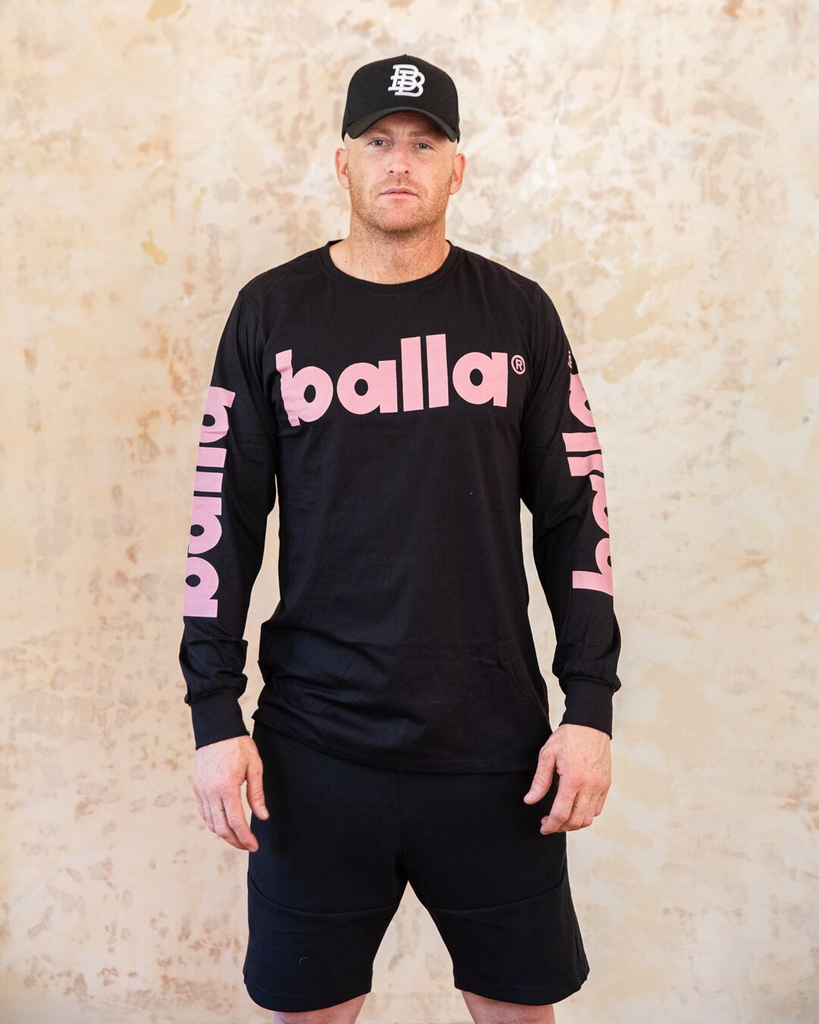 Pale Pink on Black Long Sleeve Tee