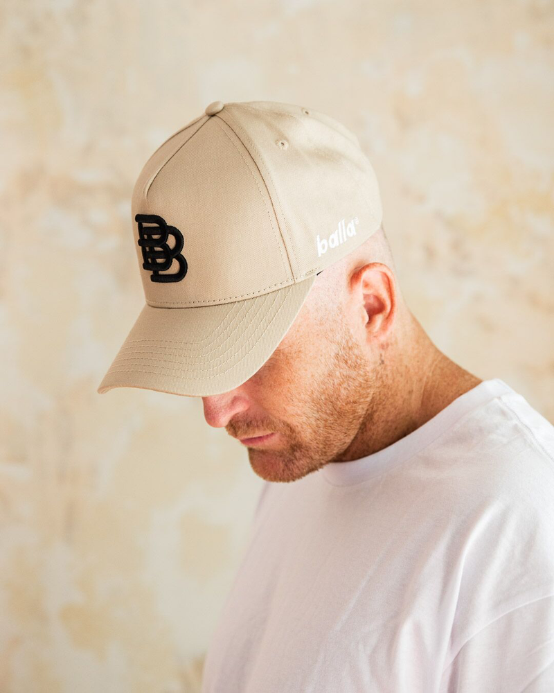 Beige W/ Black BB Cap