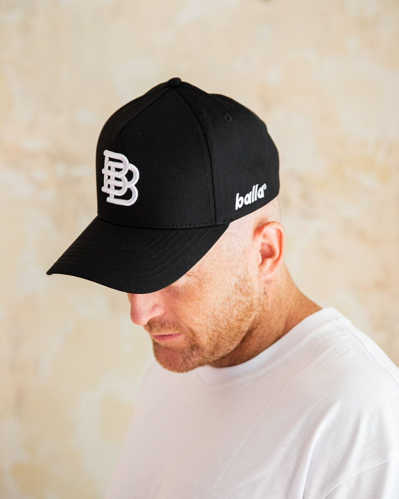 Black W/ White BB Cap