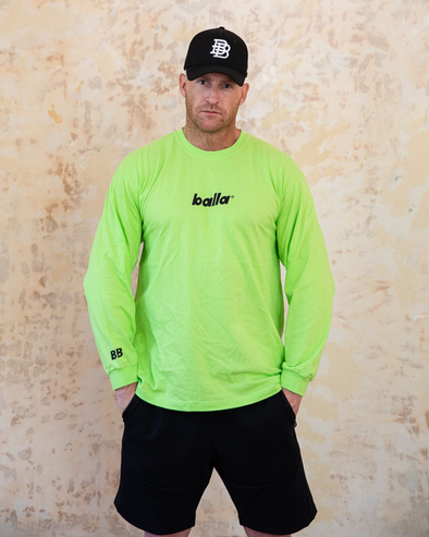 Balla Logo Long Sleeve Tee | Neon Lime/Black
