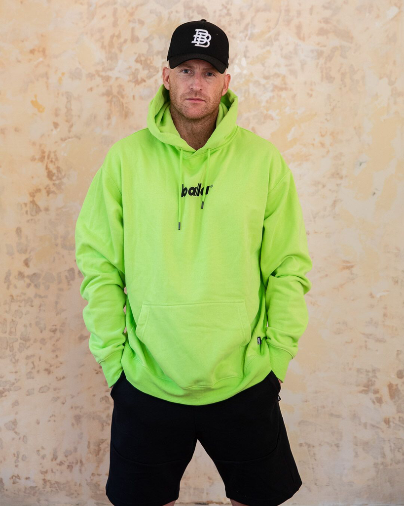 Hussle and Motivate Oversized Balla Hoodie - Neon Lime