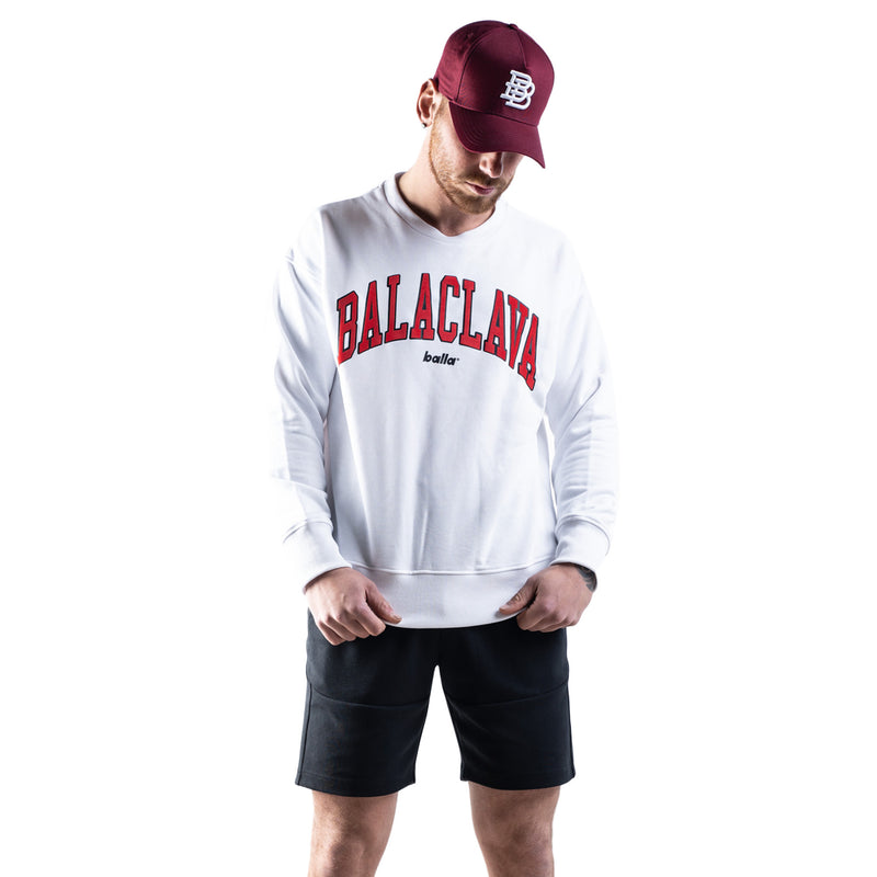 Balla Balaclava Crew Neck Sweater - White