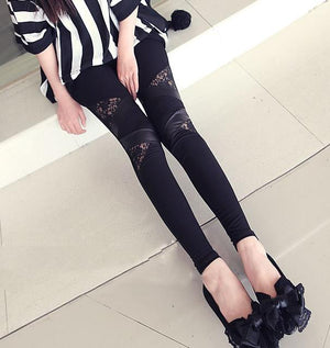 2019 Spring Autumn Leather workout Leggings Hot Charming Warm Cheap Lace legins Sexy PU Leggins Skinny Stretch Splicing Pants