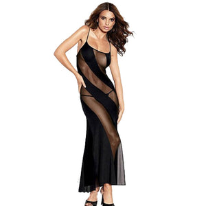 2018 Plus Size Lingerie Sexy Transparent lace Long Night Gown Sheer Mesh Night Dress Erotic Long Lingerie Women Sexy Nightwear