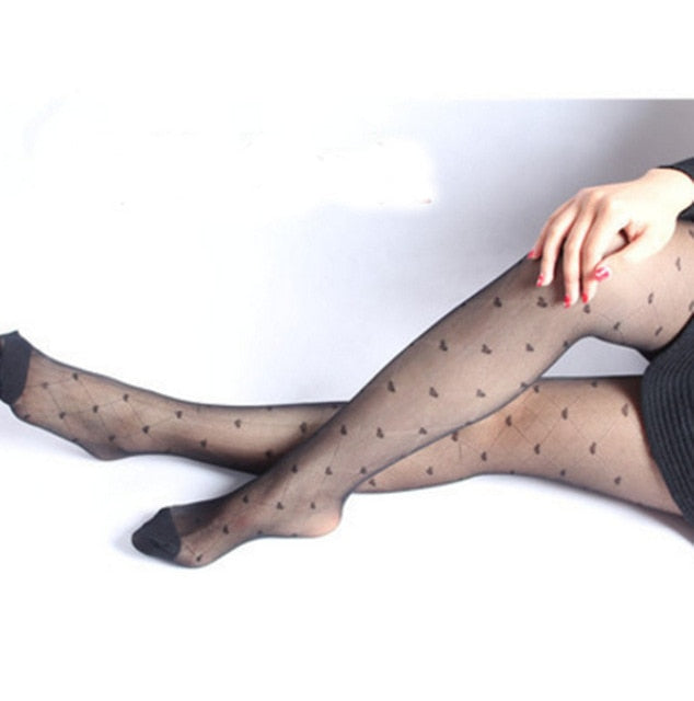 2019 1pc Sexy Women Summer Nylon Heart Print Tights Stockings Step Foot Seamless Pantyhose Fishnet Mesh Print Collant