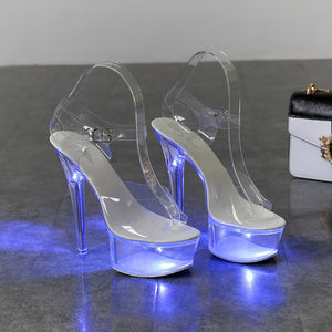 Light Up Glowing Shoes Woman Luminous Clear Sandals Women Platform Shoes Clear High Heel Transparent Stripper Wedding Shoes