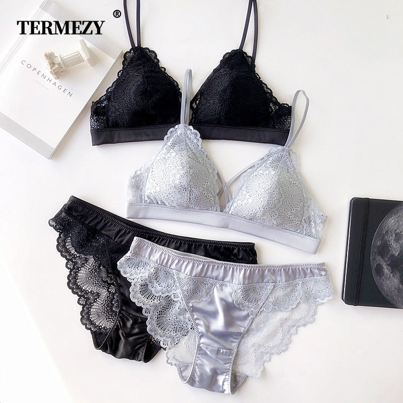 Thin Cotton Women Lingerie Sexy Embroidery Lace Underwear Sets High Quality Bra Set 3/4 Cup Brand Sexy Intimates Bra & Brief Set