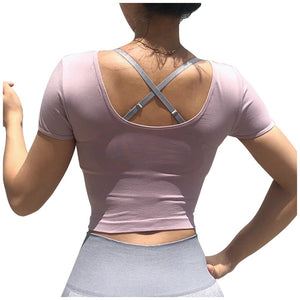 New Sport Crop Top Women Fashion Seamless Yoga Shirts High Elastic Breathable Short Sleeve Women's Activewear Sport Sleeve Tops