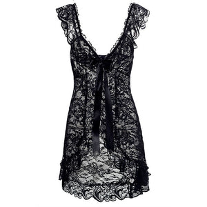 YM 2019 White Black Red Plus Size Clothes For Women 5xl 6xl Lace Sexy Lingerie Babydoll Front Open Nighty Chemise Sleepwear
