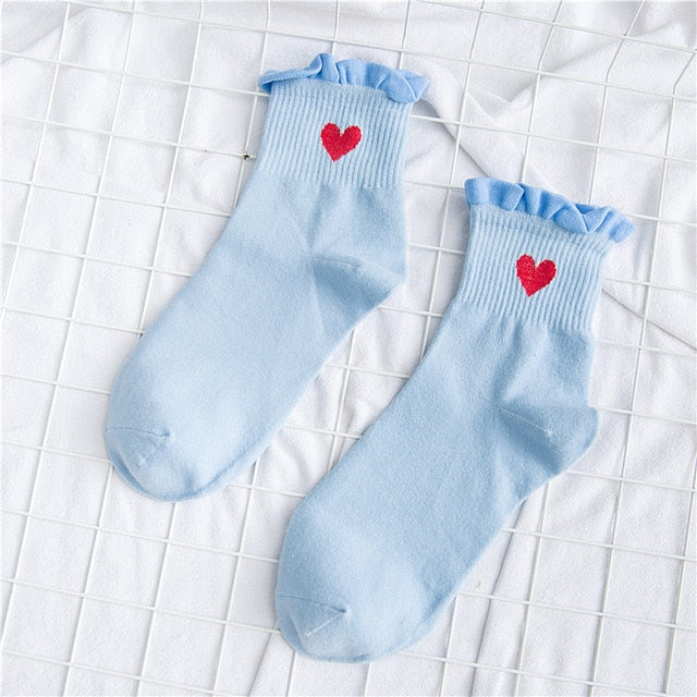 Women Socks New Autumn Socks 1 Pair Long Casual Breathable Cute Socks Cotton Color Women Fashion Heart Cute Socks Lady
