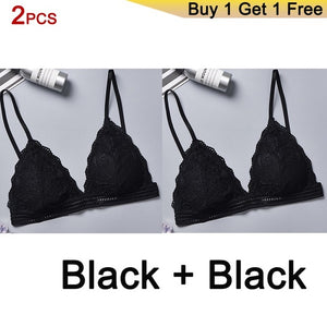 DeRuiLaDy 2PCS French Style Bralette Seamless Deep V Lace Bra Wireless Thin Underwear Sexy Lingerie Soft Bras For Women Girl