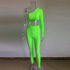 Orange Neon Green Two Piece Set Women One Shoulder Slope Long Sleeve Crop Top Mid-Calf Pencil Pants 2 Pcs Outfits Party Clubwear
