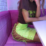 OMSJ 2019 Sexy Club Female Mini Pencil Skirt Women High Waist Lace Up Neon Green Orange Solid Bodycon Hollow Out Bandage Skirts