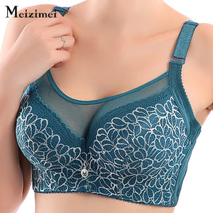 Meizimei bras for women plus large big size ladies bh super thin push up bralette gather lace crop tops sexy brassiere younggirl