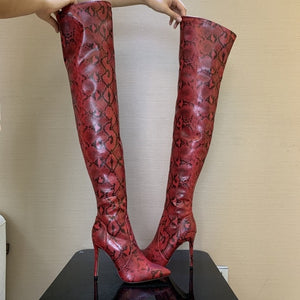 2019 Brand Autumn Winter Women Boots Long Stretch Slim Thigh High Boots Snakeskin Over the Knee Boots High Heels Shoes Woman