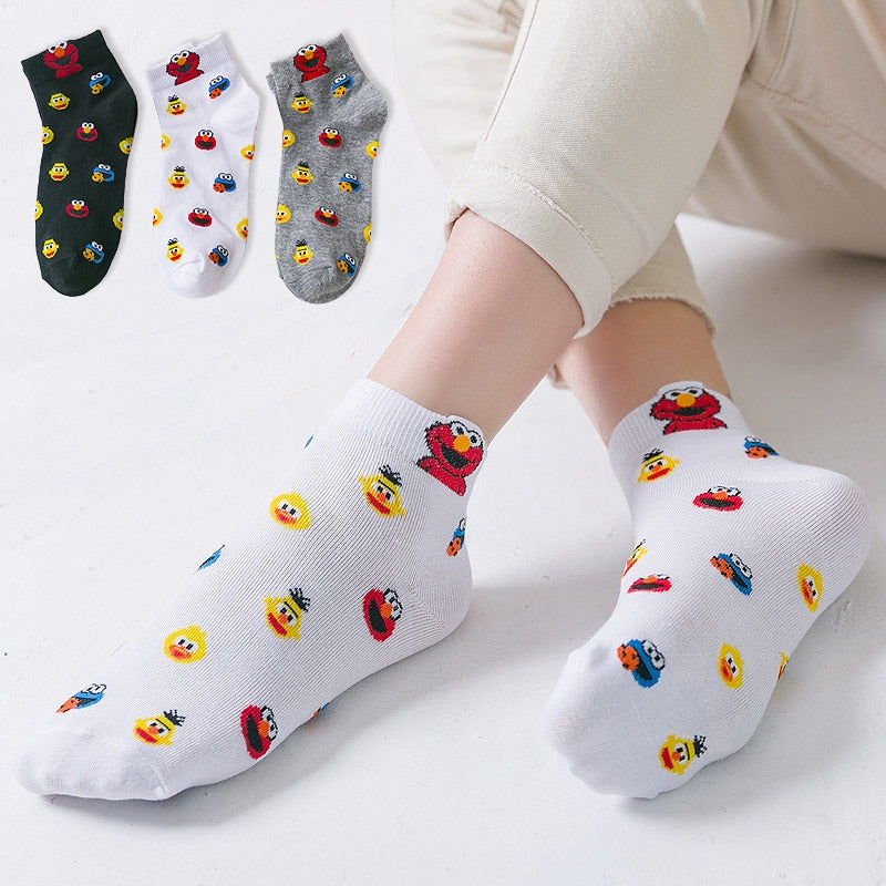 Ladies Socks Korea Sesame Street Cartoon Funny Socks Women's Cotton Socks Women's Spring and Summer New Style