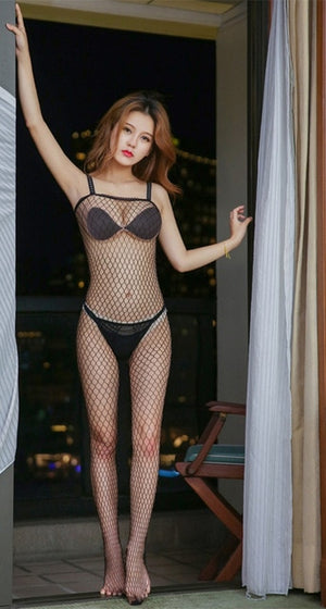 Plus Sexy Lingerie Fishnet Bodystockings Erotic Temptation Clothing Big Netting Hole Bodysuit Transparent underwear costumes