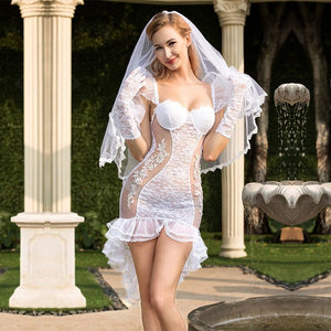 See Through Full Outfit Sexy Bride Wedding Dress Costume - Fancy Women Bridal Dress White Bride Cosplay Erotic Costume White