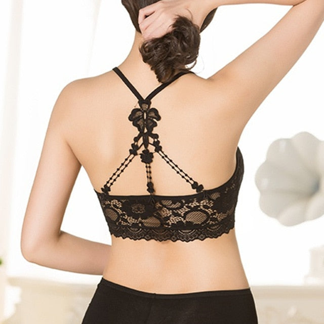 Women Lace Halter Bralette Women Bra Push Up Sexy Lingerie Seamless Bra Femme Wire Free Cross Backless Bras for Women W1