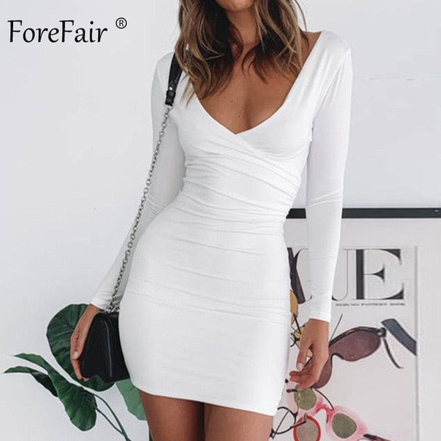 Forefair Solid Low Neck Sexy Bodycon Dress Long Sleeve Cross Basic Autumn 2019 Mini Red Black White Club Dress Women