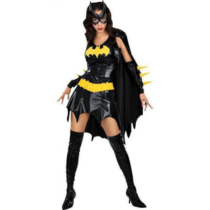 Halloween Black Batman Superwomen Anime Cosplay Costume Adult Women Sexy Dress With Cloak Mask Scary Party Super Hero Suit Girl