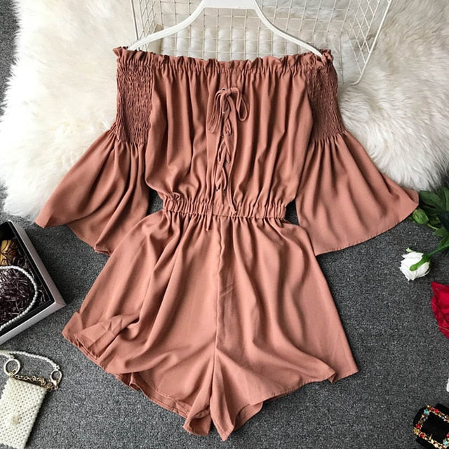 Fashion Lace Up Off Shoulder Jumpsuit Casual Sexy Women Flare Sleeve Short Summer Solid Slash Neck Playsuit Beach Holiday Romper