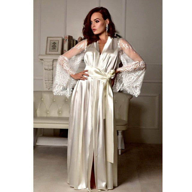 Women Lace Sleepwear Nightgown Satin Silk Lace Robes Long Sleeve V-neck Bandage Female Sleep Long Dress