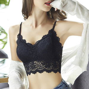 Floral Bralette Padded Push Up Lace Bras for Women Sexy Lingerie Corset Camis Underwear Wire Free Sheer Bra Crop Tops Brassiere