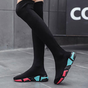 Women's Over The Knee Boots Long Shoes 2019 Lightweigt Elastic High Women Boots Flats Wild Socks Shoes brand designer Sexy Boot