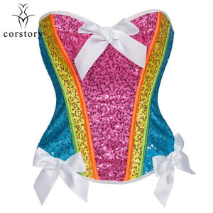 Rainbow Sequin Overbust Corset Sexy Bustier Tops Waist Slimming Korsett For Women Plus Size Gothic Lingerie Steampunk Clothing