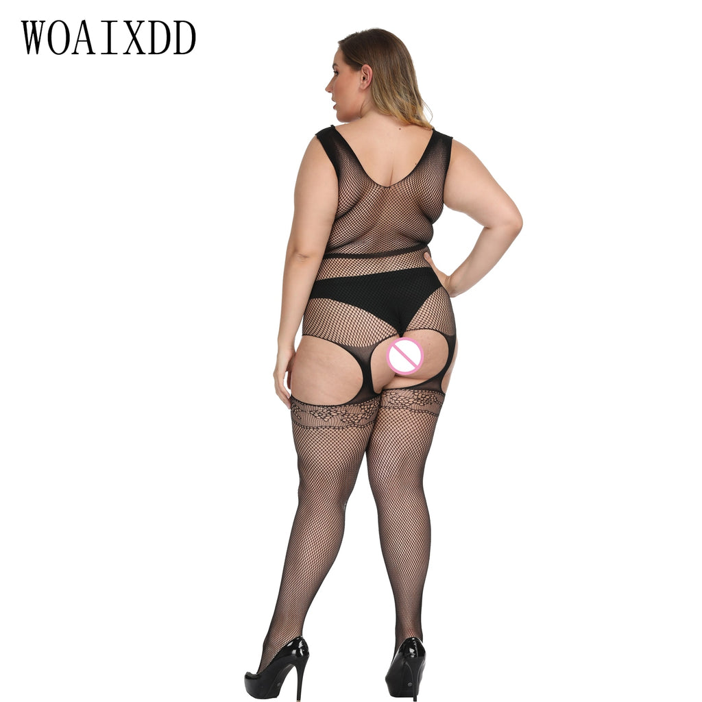 Plus size Sexy Open Crotch Hollow Out Garter Belt Sheer Mesh Bodystockings Crotchless Open Butt Lingerie Body Stockings Bodysuit
