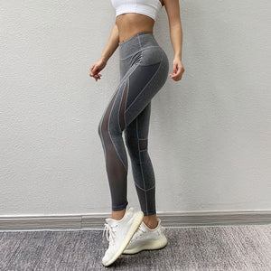 Mesh Patchwork Sports Leggings Breathable Running Pant Fitness Workout Gymwear High Waist Yoga Pant Tummy Control Activewear
