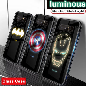 Marvel Avengers Luminous Glass Phone Case For Samsung Galaxy S10E S10 5G S9 S8 Plus Note 10 9 8 10plus Superhero Spiderman Cover