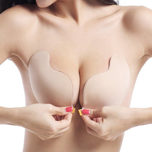 DERUILADY Adhesive Invisible Bras For Women Sexy Lingerie Seamless Silicone Sticky Bralette Strapless Front Closure Push Up Bra