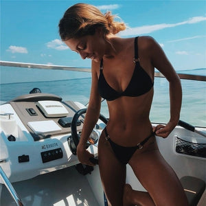 2019 Sexy Thong Micro Bikinis Women Swimsuits Solid Push up Swimwear Female Bikini set Brazilian Biquini Bathing Suit