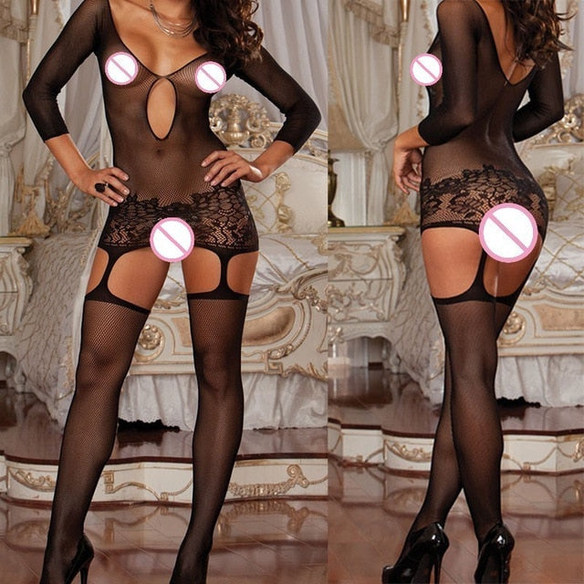 Sexy Fishnet Erotic Lingerie Plus Size Hot Erotic Costumes Teddy Lenceria Sex Clothes Open Crotch Baby Doll Mujer Sexy Underwear