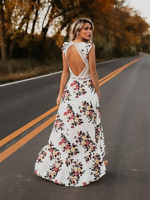 2019 Womens Summer BOHO Holiday Beach Dress Ladies Party Maxi Sleeveless Backless Vintage Split Black White Floral Printed Dress
