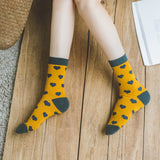 New Female Small Love Sweet Lady In Tube Cute Girl Cotton Socks Love-Heart Street Trend Gifts for Women Lovers Yellow White Red