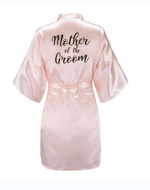 new bride bridesmaid robe with white black letters mother sister of the bride wedding gift bathrobe kimono satin robes