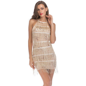 Womens Retro Sleeveless Party 1920s Flapper Costume Glitter Sequins Floral Patchwork Fringe Tassels Mini Bodycon Dress Halter Ba