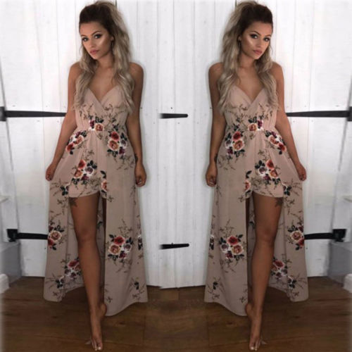 Boho Summer Women Chiffon Printed Party Evening Beach Long Maxi Dress Female Sleeveless V-neck Dresses Sundress Vestidos