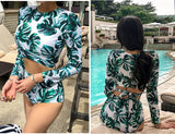Womens Long Sleeve Rash Guards set Padded Crop Top & Triangle Bandage Bottom Swimsuit Surf Sun Bathing Suit Beachwear Bikini