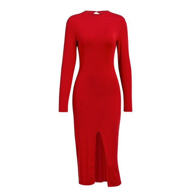 Misswim Sexy slim bodycon dress women Winter autumn backless long sleeve dress female O neck maxi Dresses Office ladies vestidos