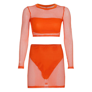 Mesh See Through Neon 3 Piece Sets Long Sleeve O Neck Crop Tops Grid Mini Skirts Metal Chain Belt Sexy Women Party Club Outfits