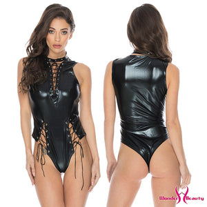 Lace Up Wetlook PVC Latex Bodysuit Lingerie Faux Leather Catsuit Underwear Erotic Fetish Vinyl Body Suit Lingerie Teddies