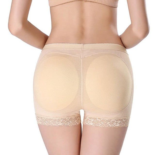 Women Breathable Mesh Mid Rise Butt Lifter Underwear Seamless Floral Lace Trim Padded Panties Hip Enhancer Body Shaper Boyshort